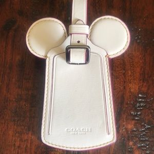 Auth.COACH Disney Mickey White leather luggage tag